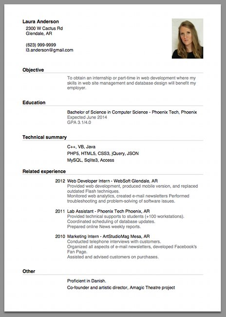 Resume Curriculum Vitae Example For Internship sample of a beginners cv resumecv cover letter headache giga helps you for developing successful cv