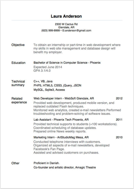 Sample Resume For Internship  Resume For An Internship
