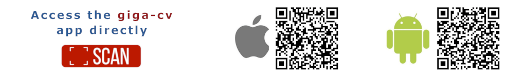 scan QR-code to download giga-cv App under IOS or ANDROID
